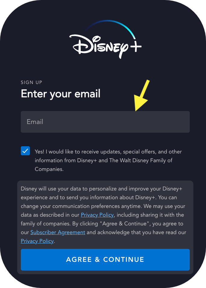 Step 3 Disney+ Free Trial Sign Up